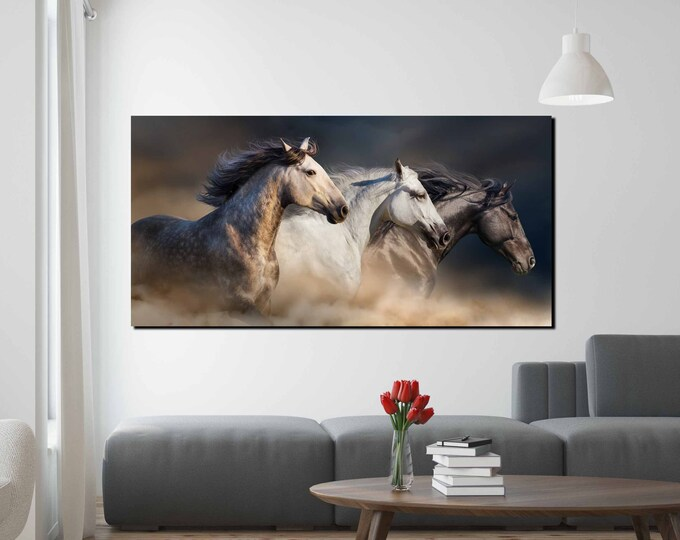 Horse wall art, 3 running horses wall art canvas print, horse wall art canvas, horse wall art print, running horses art print, horses photo