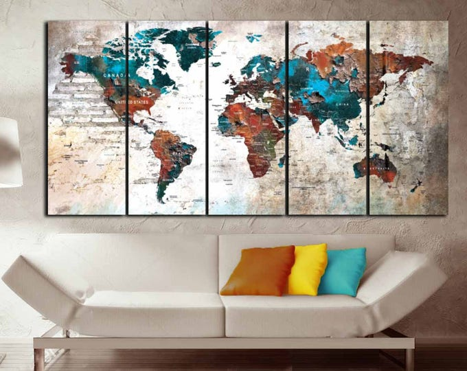 Push Pin World Map,World Map Pushpin,World Map Canvas,World Map Art,World Map 5 Panels,Travel Map Canvas,Travel Map Pushpin,Rustic World Map