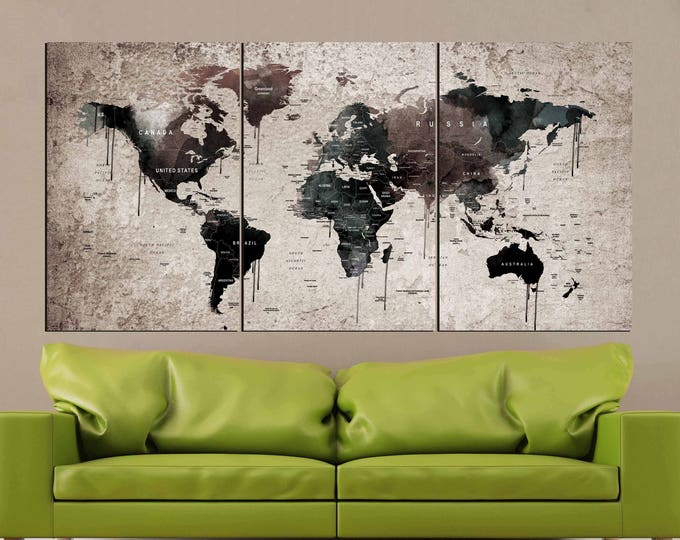 World Map Vintage,World Map Wall Art,Vintage Map Canvas Print,World Map Watercolor Art,World Map Canvas Print,Vintage World Map,Push Pin Map