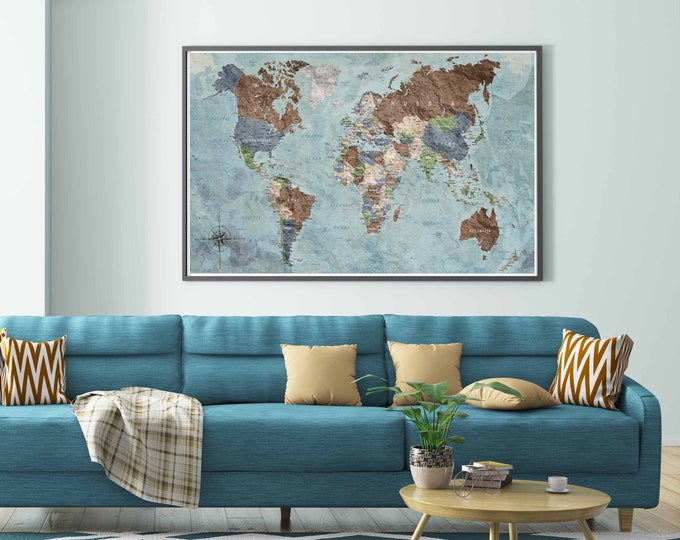 World map wall art, world map vintage, world map poster, world map large print, world map art, world map decal, world travel map, push pin