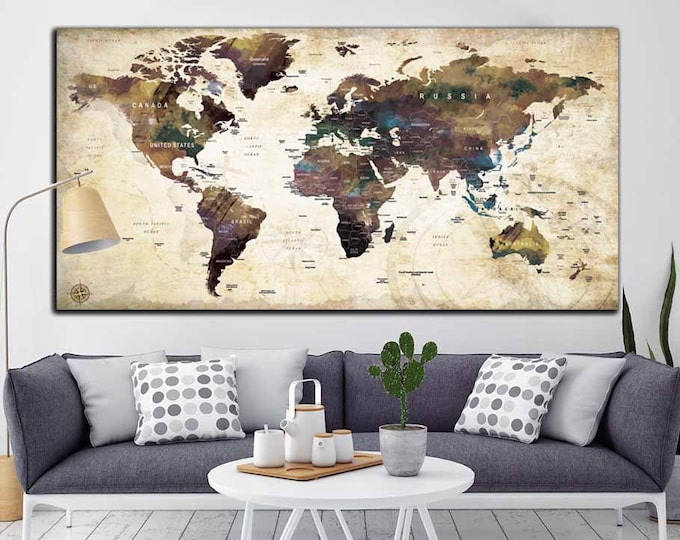 VINTAGE Wall Art World Map Push Pin Canvas Print,Push Pin World Map Poster, Push Pin Map Wall Art Poster Print, Pushpin World Map Print Art
