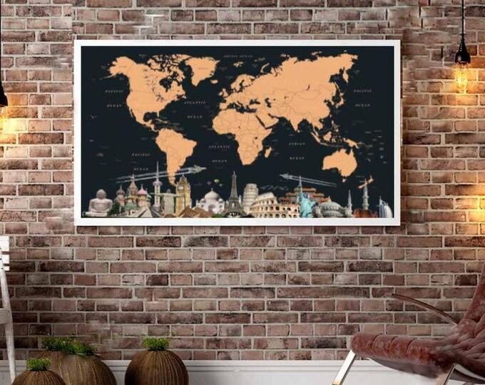 Push Pin Map Large Canvas Print,World Map Push Pin,World Map,World Map Wall Art,World Map Canvas,Push Pin Map Canvas,Travel Map Canvas Art