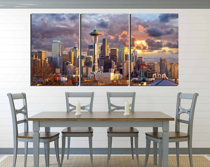 Seattle art, Seattle art print, Seattle wall art,Seattle canvas print,Seattle print, Seattle sunset art, Seattle skyline,Seattle cityscape