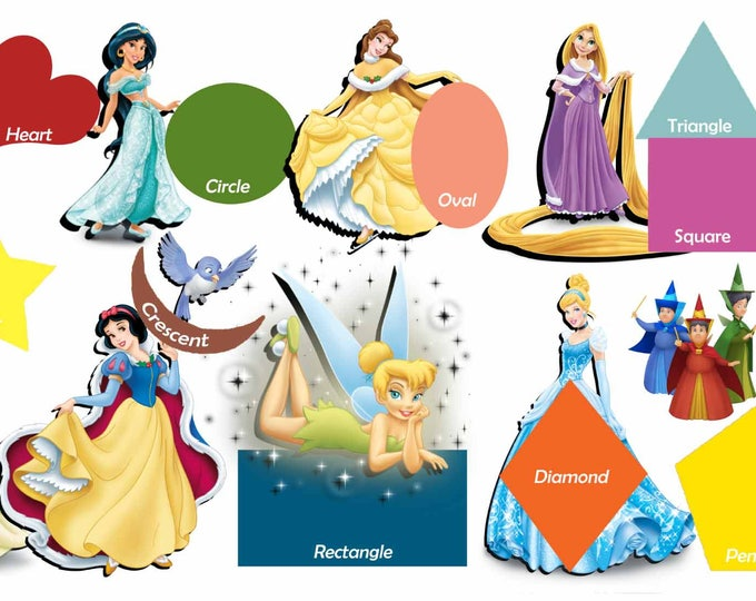 Kids Room Art,Kids' Room Educational Art,Disney Princess and Geometrical Shapes,Kids' Room Wall Decal,Kid's Room Shapes,Kids' Learning Art