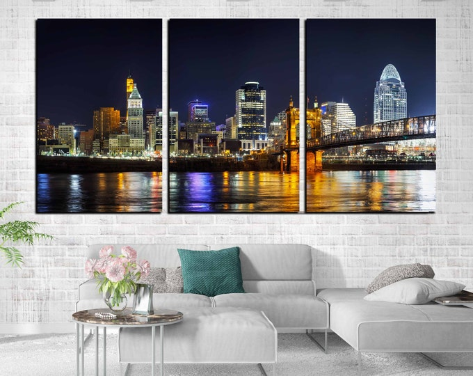 Cincinnati art, Cincinnati wall art canvas print ready to hang, Cincinnati skyline, Cincinnati print, Cincinnati art canvas,Cincinnati Ohio
