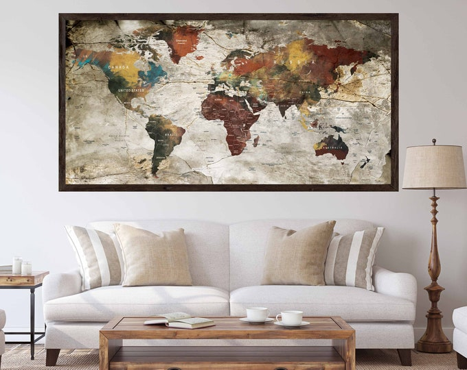World map poster, world map print, world map art, world map art print, world map wall art, travel map poster, push pin map poster, map art