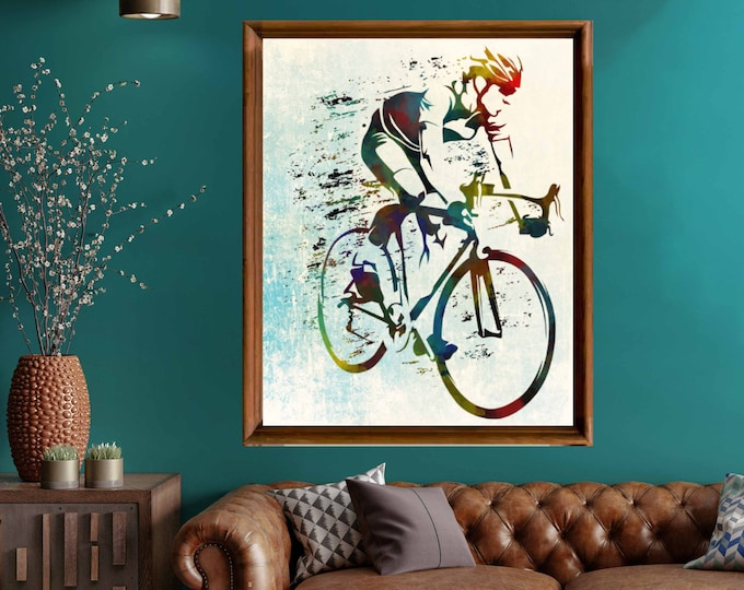 Watercolor Biking Wall Art,Bike Art,Bicycle Art,Bike Wall Art,Bike Riding Art,Bike Canvas Wall Art,Watercolor Biking Art,Biking Canvas Print