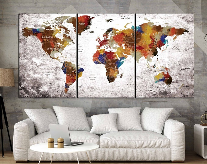 World Map,World Map Pushpin,Large World Map Wall Art,World Map Art,World Map Canvas,Travel Map,Abstract World Map,Pushpin Map,Birthday Gift