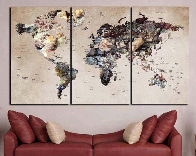 World Map Canvas,Large World Map,World Map Art,World Map 3 Panels,World Map Abstract,Map Art Canvas,Travel Map Canvas,Push Pin Map,Wall Art