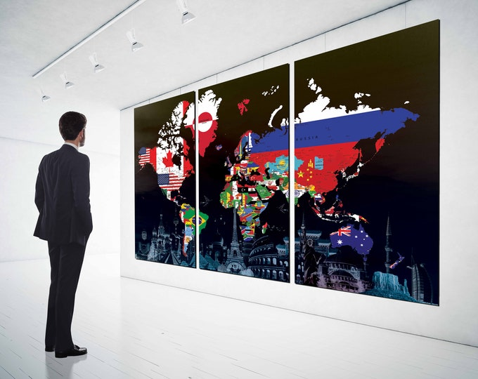 World map with flags&landmarks,World Map Wall Art,World Map Canvas,World Map Art,World Map Print,World Map Canvas Art,Map Office Wall Art
