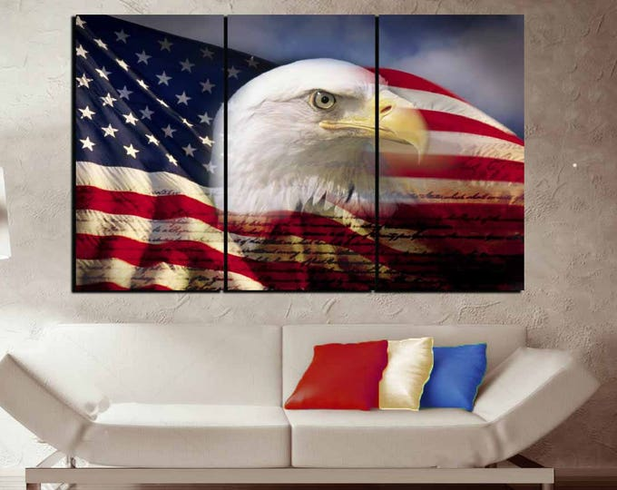 US Flag with Eagle Wall Art Large Canvas Panels,US Flag Wall Art,US Flag Art,American Flag Wall Art,American Flag Canvas,Us Flag Canvas,Flag
