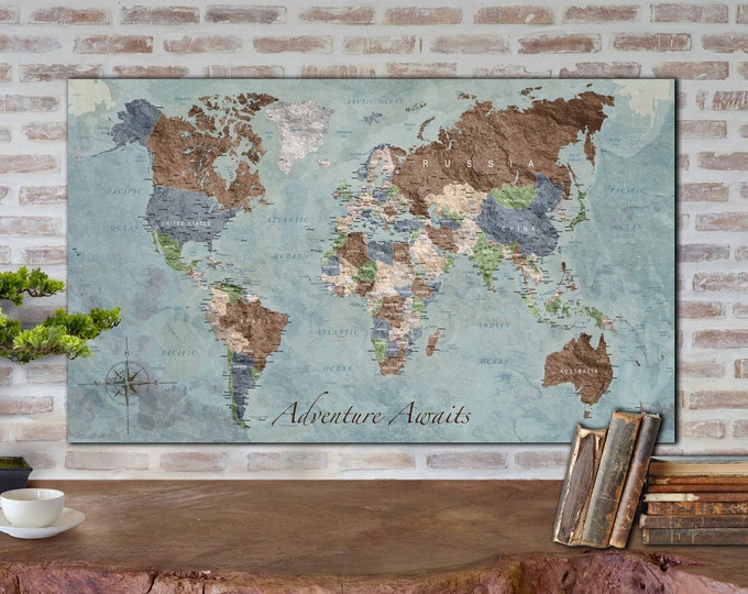 Antique world map wall art canvas print ready to hang, World map vintage art, world map push pin, travel map vintage, world map canvas art