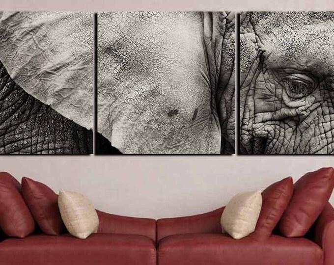 Elephant Wall Art,Elephant Canvas Print,Large Elephant Canvas,Elephant 5 Panels,Elephant Black and white,Elephant Art Print,Elephant Print