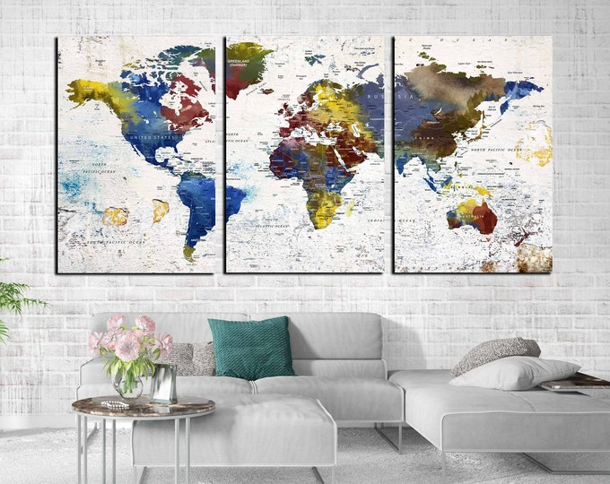 World travel map large canvas print, world map wall art canvas art, push pin map canvas, world map watercolor art print, travel map large