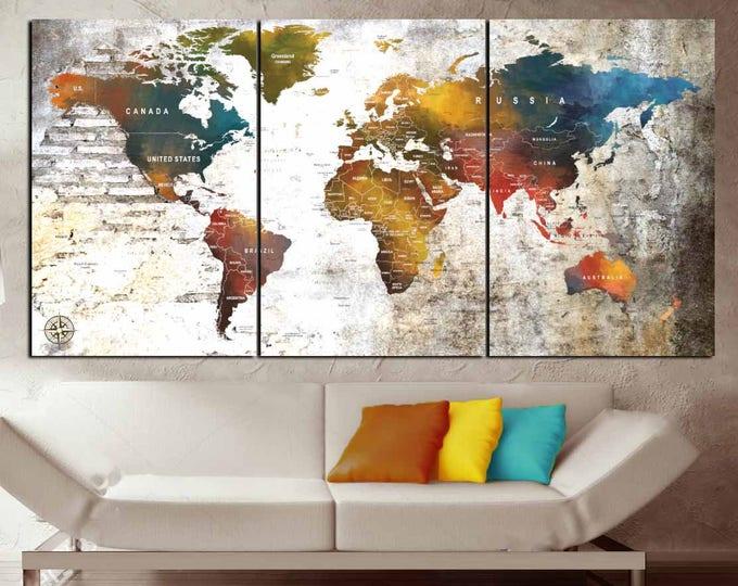 Large World Map Canvas Art,World Map Wall Art,World Map Art,World Map Pus Pin,World Map 3 Panels,World Map,Travel Map,Travel Map Canvas Art