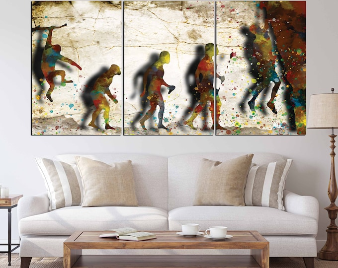 Evolution of climbing art canvas print,Climbing art, rock climbing art, climbing wall art, climbing canvas art, climbing painting, climbing