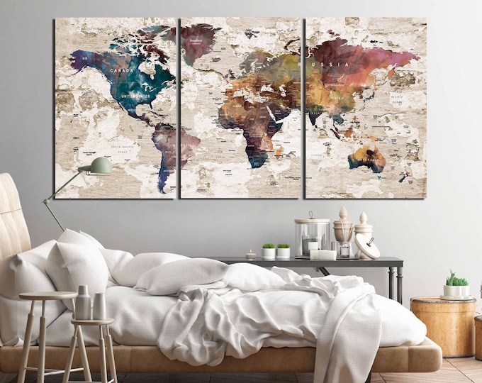 World Map Wall Art,Large World Map,Push Pin Map,World Map Canvas Print,World Map Art,World Map Abstract,World Map Vintage,World Map Print