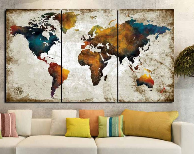Large World Map Art,World Map Watercolor Art,World Map Canvas Art,World Map Art Print,World Map Travel,Push Pin Map Art,World Map Abstract,