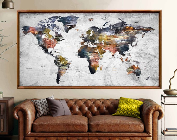 Large World Map Wall Art Poster Print,World Map,Push Pin Map,World Map Print,World Map Art,World Map Decal,World Map Rustic,World Map Travel