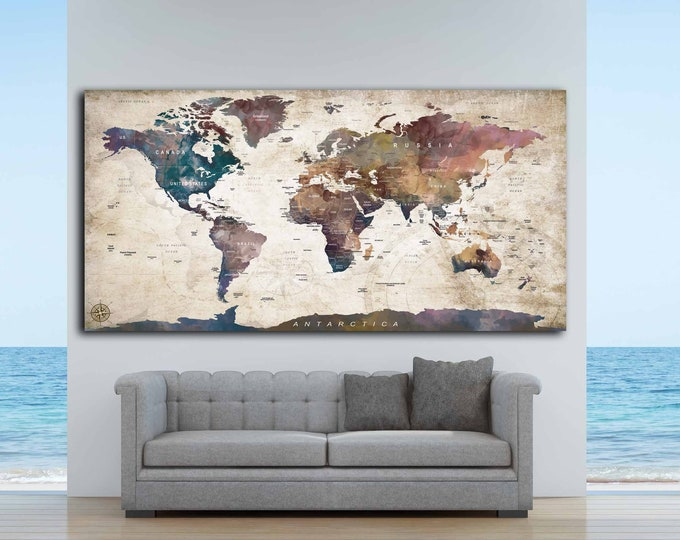 World Map Push Pin,World Map Custom,Personalized Map,Custom Map,Anniversary Gifts,Personalized Gift,Push Pin Map Custom,World Map Canvas,Map