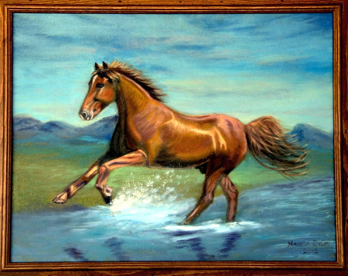 Horse Painting, Horse Oil Painting,Horse Wall Art,Horse Print,Canvas oil painting,Running Horse Painting,Animal Painting,Running Horse Beach