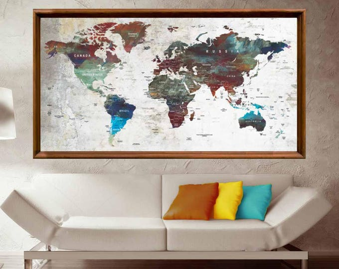 Push Pin Map,World Map Poster,World Map Canvas,Watercolor World Map,Large World Map,World Map Wall Art,World Map Abstract,World Map Push Pin