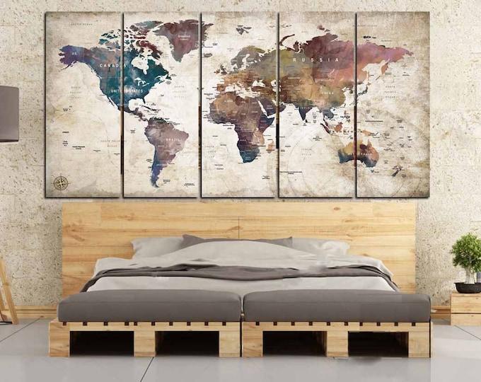 World Map Push Pin,World Map Canvas,World Map Wall Art,Large World Map,World Map Vintage,World Map Abstract,World Map Art,Watercolor Map Art