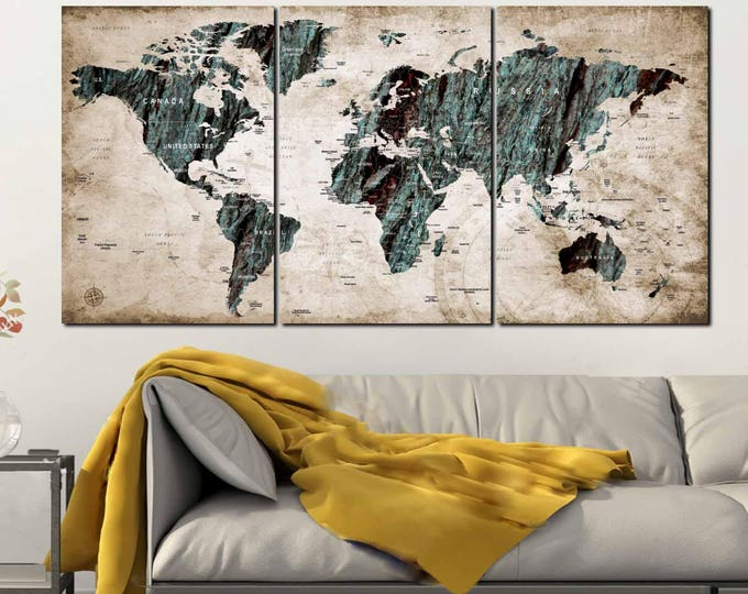 World Map,Large World Map,World Map Wall Art,World Map Canvas,Abstract Art,Abstract Map,World Map Push Pin,Travel Map,World Map Art,Wall Art