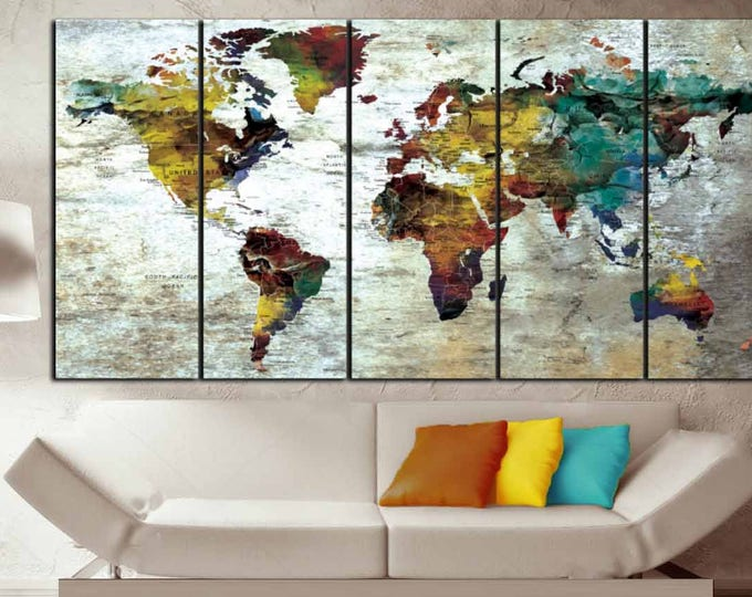 World Map Wall Art,World Map Canvas Art,World Map Print,World Map Canvas Print,Large World Map, Large Canvas Map,Large Travel Map, Push Pin