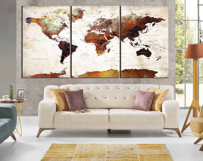 World map world map wall art push pin map, abstract world Map, travel map world map canvas, large world map detailed world map, vintage map