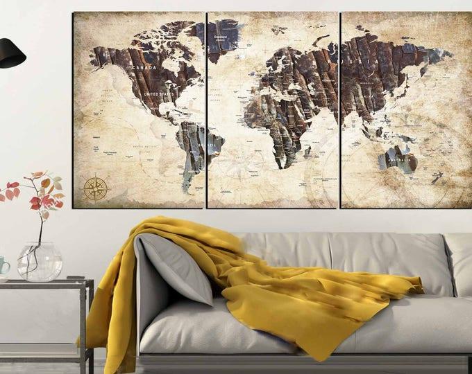 World Map,Push pin World Map,Travel Map,Vintage Push Pin Map,World Map Push Pin,World Map Canvas,World Map Print,Large Push Pin Map,Map Art