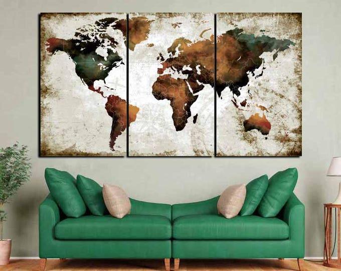Watercolor World Map Art,World Map Wall Art,World Map Art Print,World Map Brown,World Map Abstract Art,World Map Large,World Map Artwork