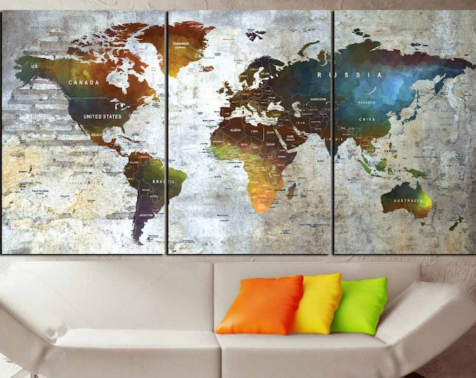 Large Watercolor World Map Canvas Panels,World Map Art,Push Pin Map,Travel Map,World Map Print,World Map Colorful,World Map Ready to Hang