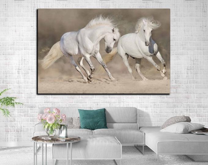 Horses Wall Art,Large Running Horses,White Horses Canvas Print, Horses Wall Art, Horses Print,Running Horses Art,Living Room Art,Wall Decor