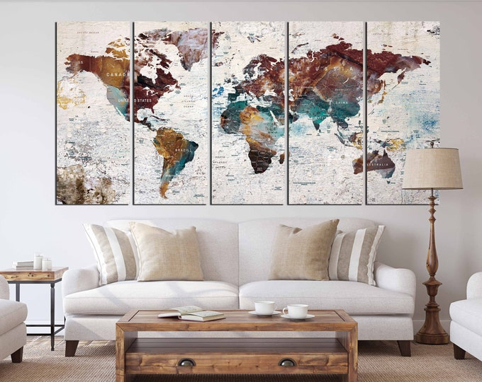 World Map Wall Art,World Map Canvas,World Map Art,World Map Watercolor,Travel Map,Push Pin Map Art,Push Pin Map Canvas Art, Travel Map Wall