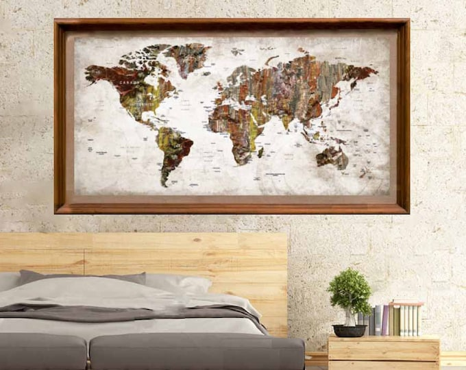 World Map Poster,Push Pin World Map,Push Pin Map Poster,World Map Wall Art,Large World Map,World Travel Map, Travel Map Poster,World Map Art