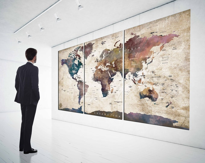 World Map Wall Art,Large World Map,World Map Canvas,World Map 3 Panels,World Map Art,Travel Map,Push Pin Map,Abstract World Map,Office Decor