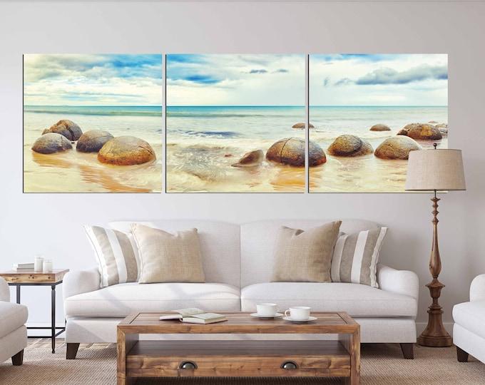 Round rocks on the beach, beach art, beach wall art, Seascape art, beach and rocks art, beach sand and ocean art, ocean art ocean wall art
