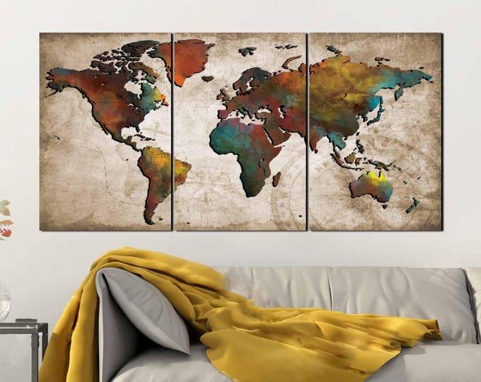 World Map Wall Art,Abstract Push Pin Map,Colorful World Map,World Map Poster,World Map Art,World Map Canvas,Travel Map,Travel Map Poster,Art