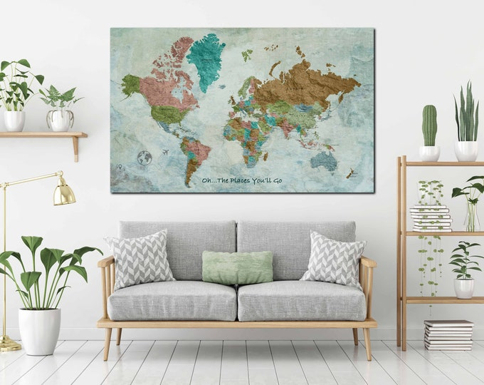 Push pin map, world map large, world map wall art, world map canvas, world map personalized, travel map push pin, world map print, world map