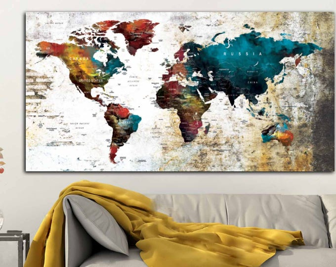 Large Push Pin Map Canvas Panel, Mix-Media World Map Single Panel Wall Art,World Map Art Canvas Print,World Map for Traveler,World Map Decor