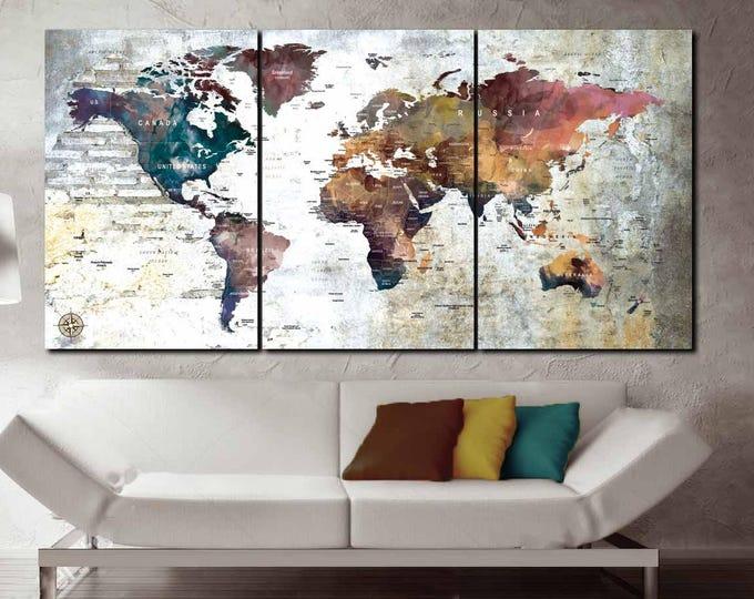 World Map 3 Piece Canvas, push pin map, world map,Large World Map,World Map Wall Art,World Map Push Pin,World Map Canvas,World Map Art Print