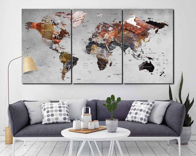 Pushpin World Map,Large World Map,World Map Canvas,World Map Art Pushpin,World Map 3 Panels,World Map Abstract,Travel Map Canvas,Pushpin Map