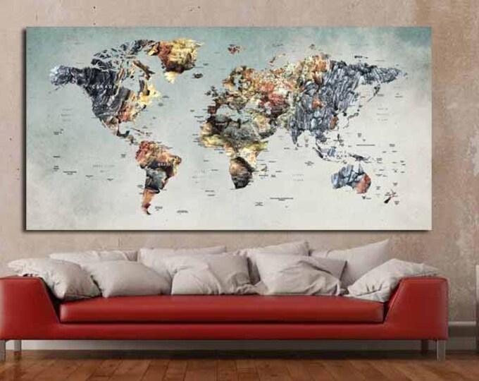 Push Pin World Map,Push Pin Map,Travel Map,World Map Canvas,World Map Poster,World Map,World Map Abstract,Abstract Map Art,Large Canvas Art
