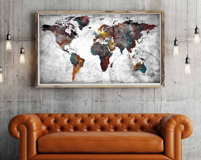 World Map,World Map Art,World Map Large,World Map Abstract,Push Pin World Map,Decorative Art,Wall Art,Canvas World Map,Living Room Art,