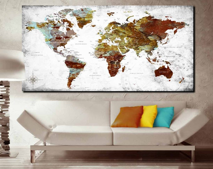 World map large, world map canvas, world map wall art, world map art, world map print, world map canvas print, travel map, push pin map