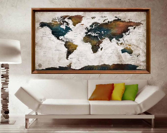 World Map Detailed Countries Poster,World Map Poster,World Map Wall Art,World Map Decal,Detailed Map,World Map Push Pin,Push Pin Map,Travel
