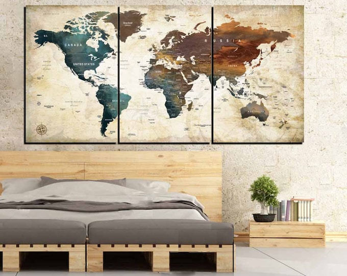 Watercolor World Map Wall Art,World Map Art Canvas Panels,Large World Map Watercolor Art,Natural Colors World Map Art,Travel Map Push Pin