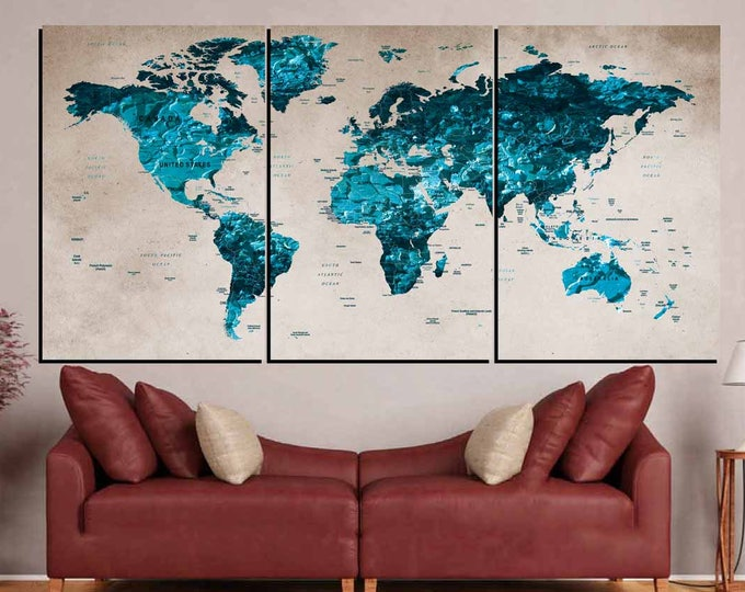 World Map Blue,World Map Wall Art,Large World Map,World Map Canvas Art,World Map Push Pin,World Map Print,World Map Decal,World Map Abstract