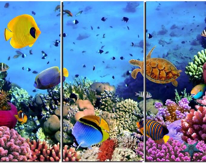 Kids Room Wall Art,Coral Nursery Room Art,Coral Kids Room Art,Aquarium Canvas Art,Tropical Fish Tank Art,Coral Reef Canvas Art,Colorful Art